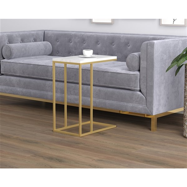 Safdie Co End Table 20 In X 12 In White Marble Gold Metal Rona