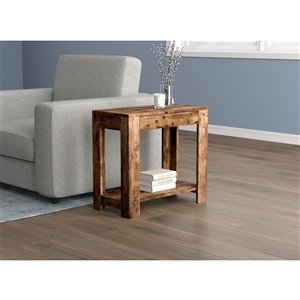 Safdie & Co. Accent Table - 1 Drawer and 1 Shelf - 24-in - Brown Reclaimed Wood