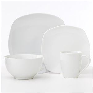 Safdie & Co. Metric Soft Square Dinnerware Set - Porcelain - White - 16 -Piece