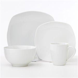 Safdie & Co. Metric Soft Square Dinnerware Set - Porcelain - White - 16 -Piece