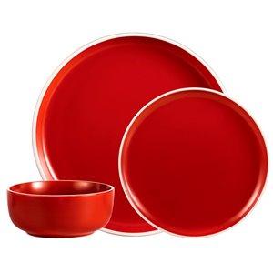 Ensemble de vaisselle en grès de Safdie & Co., rouge, 12 pièces