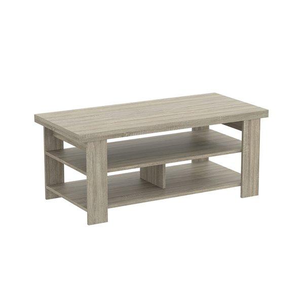 Safdie & Co. Coffee Table - 3 Shelves - 41.25-in - Dark Taupe