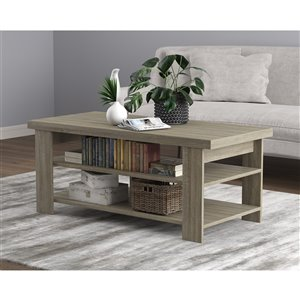 Safdie & Co. Coffee Table - 3 Shelves - 41.25-in - Dark Taupe