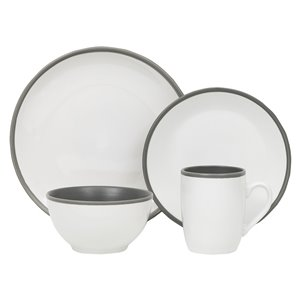 Safdie & Co. Dinnerware Set - Stoneware - White and Grey - 16 -Piece