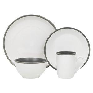 Ensemble de vaisselle en grès de Safdie & Co., blanc et gris, 16 pièces