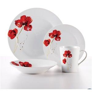 Ensemble de vaisselle en porcelaine Ruby Poppi de Safdie & Co., blanc et rouge, 16 pièces