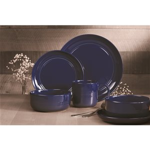 Safdie & Co. Stoneware Ridge Dinnerware Set - Navy Blue - 16 -Piece