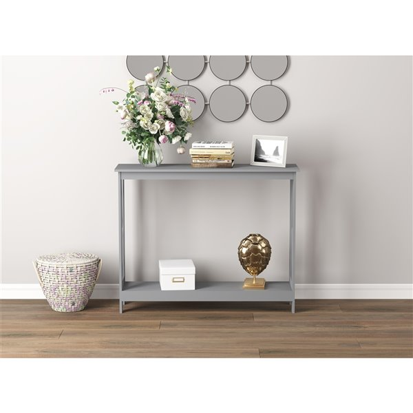 Table console Safdie & Co., 1 tablette, 39,5 po, gris