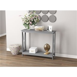 Table console Safdie & Co., 1 tablette, 39,5 po, gris