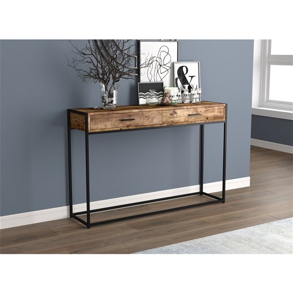 Safdie & Co. Console Table- 2 Drawers - 48-in - Brown Reclaimed Wood