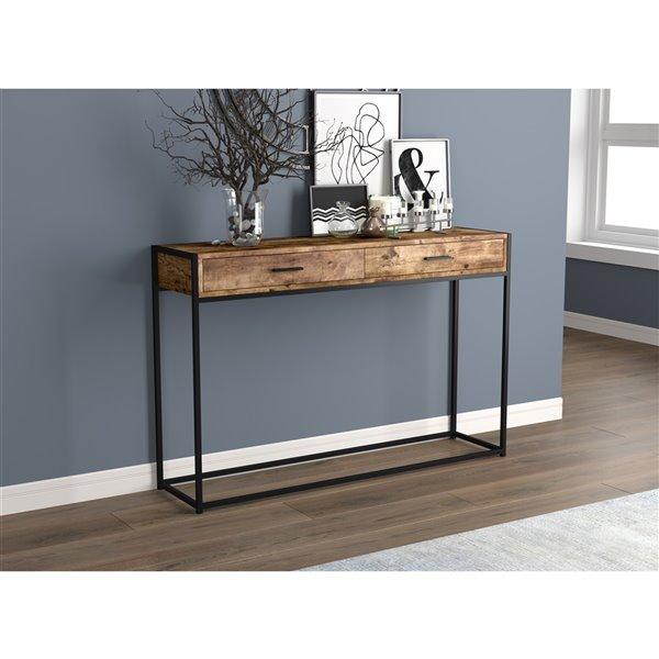 Table console Safdie & Co., 2 tiroirs, 48 po, bois brun recyclé