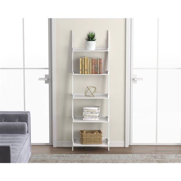 Bibliothèque Safdie & Co., 70 po x 22 po, blanc