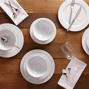Safdie & Co. Dinnerware Set - Porcelain - White - 12 -Piece