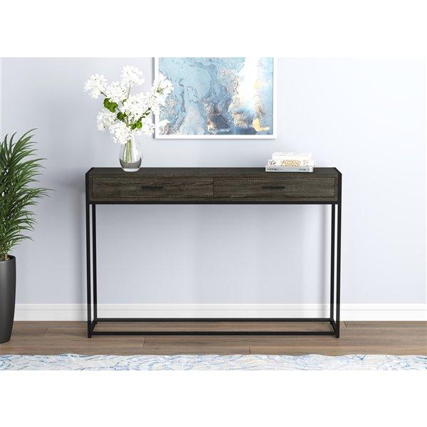 Table console Safdie & Co., 2 tiroirs, 48 po, gris/noir