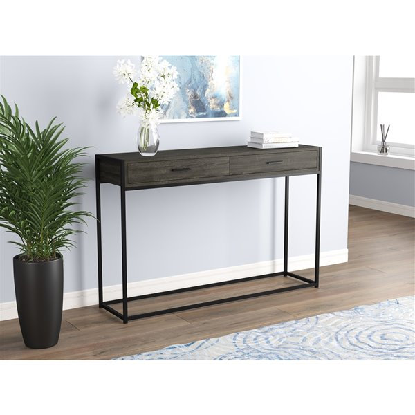 Safdie & Co. Console Table - 2 Drawers - 48-in - Grey/Black