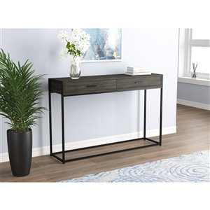 Table console Safdie & Co., 2 tiroirs, 48 po, gris/noir