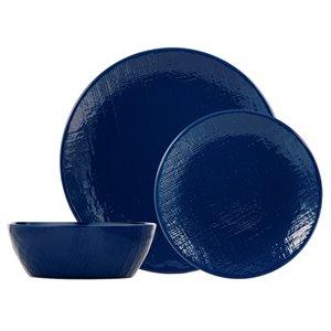 Ensemble de vaisselle en grès de Safdie & Co., bleu marin, 12 pièces
