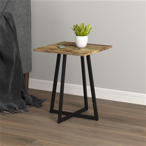 Safdie & Co. Square End Table - 16-in - Brown Reclaimed Wood/Black Metal