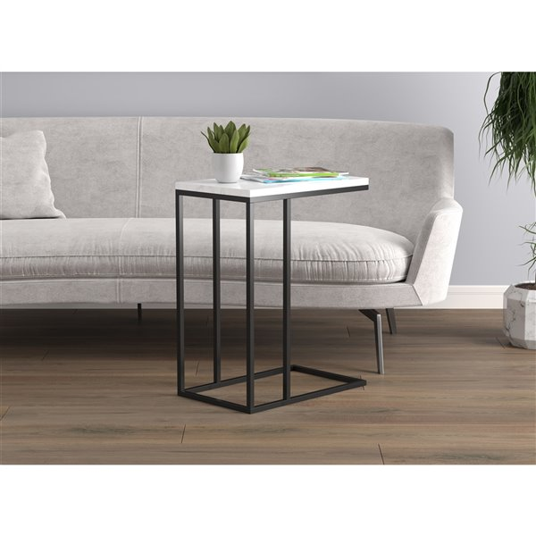 Safdie Co Accent Table 19 In White Marble Black Metal Rona