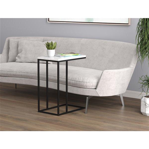 Table d'appoint Safdie & Co., 19 po, marbre blanc et métal noir