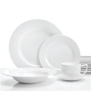 Ensemble de vaisselle en porcelaine Topia Classique Élegante de Safdie & Co., blanc, 16 pièces