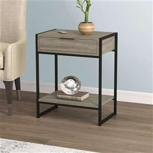 Safdie & Co. Accent Table - 1 Drawer and 1 Shelf - 20-in - Dark Taupe