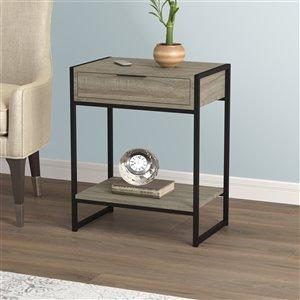 Table d'appoint Safdie & Co., 1 tiroir et 1 tablette, 20 po, gris taupe foncé