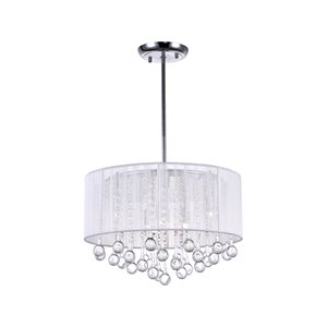 CWI Lighting Water Drop Chandelier - 6-Light - 18-in x 14-in - Chrome/White