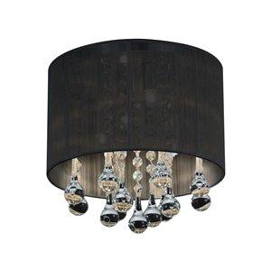 CWI Lighting Water Drop Flush Mount Light - 4-Light - 10-in x 10-in - Chrome/Black