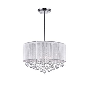 CWI Lighting Water Drop Chandelier - 6-Light - 18-in x 14-in - Chrome/Silver