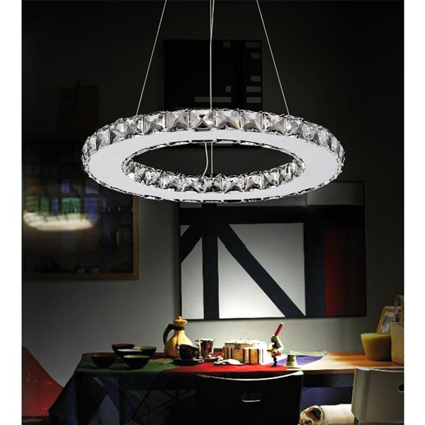 CWI Lighting Ring Chandelier - LED Light - 16-in x 60-in - Chrome