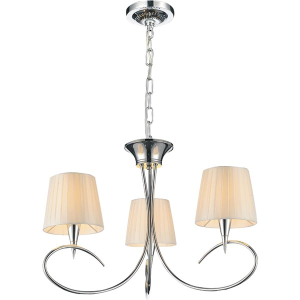 CWI Lighting Accomplished Chandelier - 3-Light - 21-in x 18-in - Chrome/Off-White
