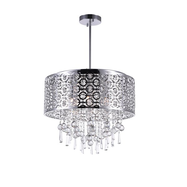 CWI Lighting Galant Chandelier - 6-Light - 20-in x 15-in - Chrome