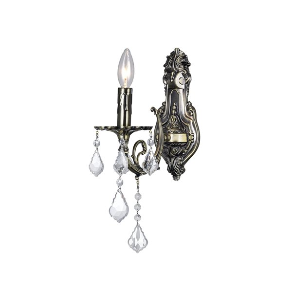 CWI Lighting Brass Bathroom Wall Sconce - 1-Light - Antique Brass/Crystal Glass