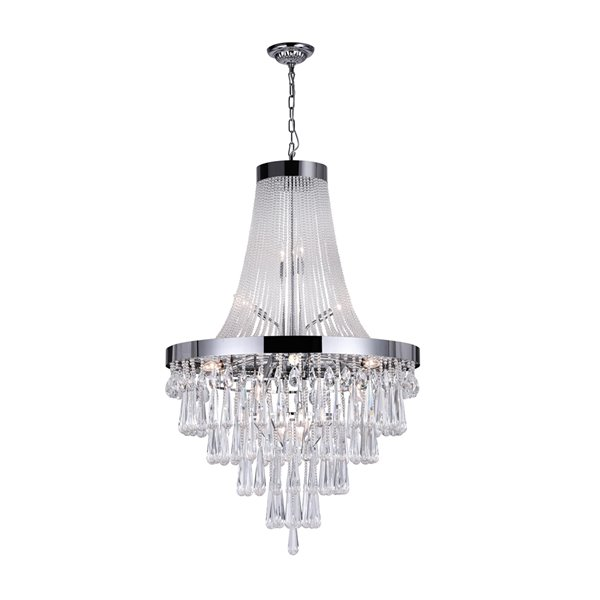 Cwi Lighting Vast Chandelier 17 Light 32 In X 52 In Chrome Clear Glass Rona