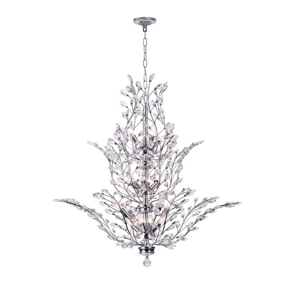 CWI Lighting Ivy Chandelier - 18-Light - 40-in x 36-in - Chrome