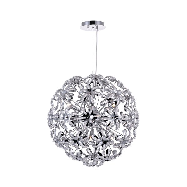 CWI Lighting Patricia Chandelier - 10-Light - 20-in x 20-in - Chrome
