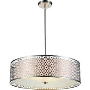 CWI Lighting Mikayla Chandelier - 5-Light - 22-in x 7-in - Satin Nickel/Off-White