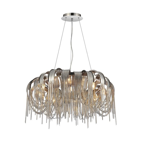 CWI Lighting Shirley Chandelier - 8-Light - 32-in x 20-in - Chrome