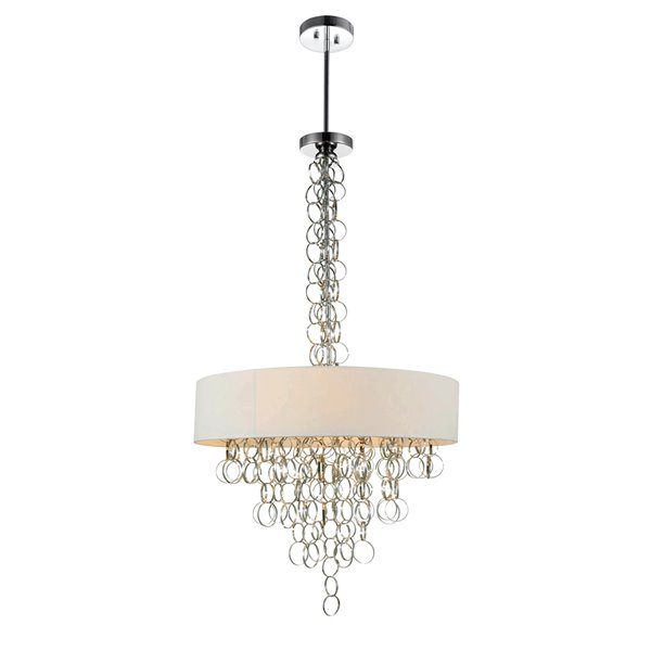 CWI Lighting Chained Chandelier - 8-Light - 26-in x 43-in - Chrome/White