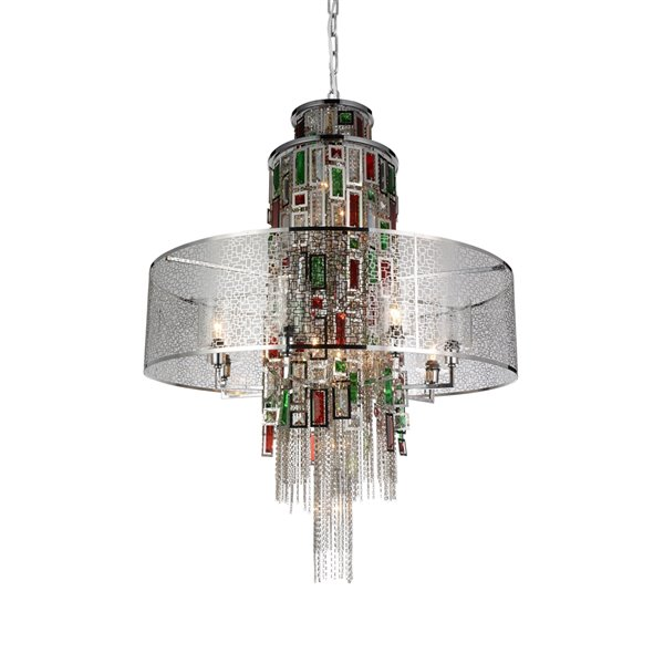 CWI Lighting Stained Chandelier - 15-Light - 32-in x 43-in - Chrome