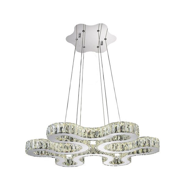 CWI Lighting Odessa Chandelier - LED Light - 27-in x 2-in - Chrome