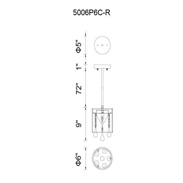 CWI Lighting Water Drop Pendant Light - 1-Light - 6-in - Chrome/White