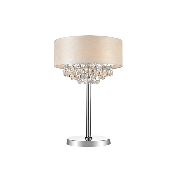 CWI Lighting Dash Table Lamp - 3-Light - 24.5-in - Chrome/Off-White