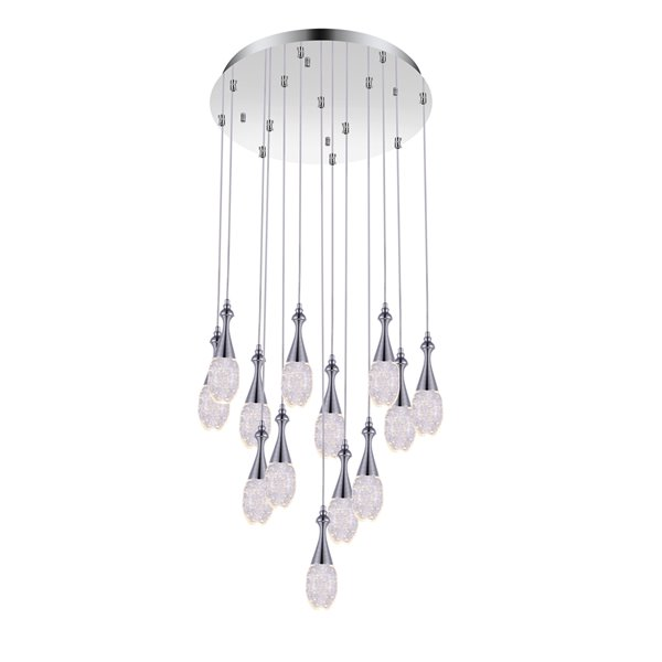 CWI Lighting Dior Pendant Light - LED Light - 24-in - Chrome