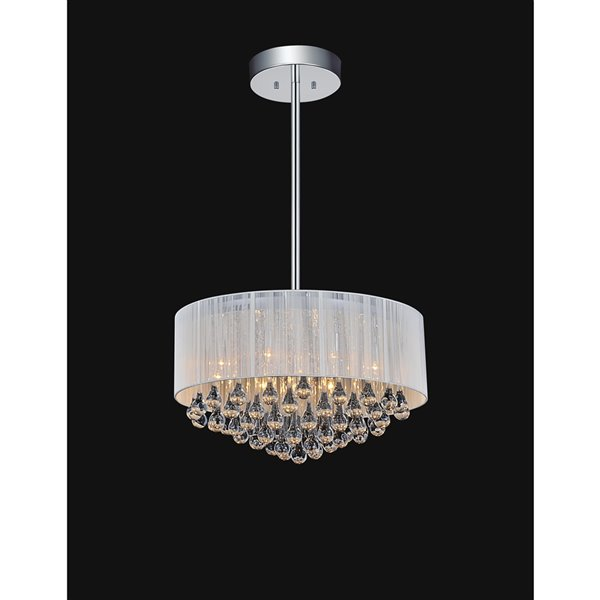CWI Lighting Water Drop Chandelier - 9-Light - 22-in x 14-in - Chrome/White