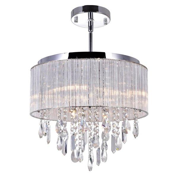 CWI Lighting Jacquimo Flush Mount Light - 9-Light - 16-in x 11-in - Chrome