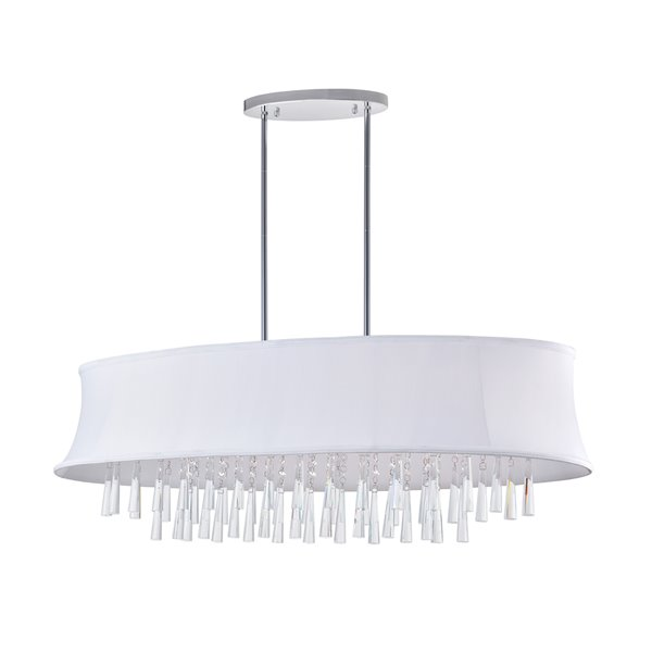 CWI Lighting Audrey Chandelier - 8-Light - 14-in x 13-in - Chrome/Off-White