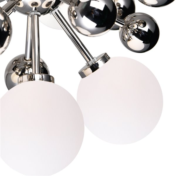 CWI Lighting Element Chandelier - 8-Light - 16-in x 16-in - Polished Nickel/White