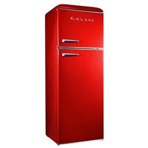 Réfrigérateur Galanz rétro, congélateur supérieur, 12 pi³, 24 po, rouge
